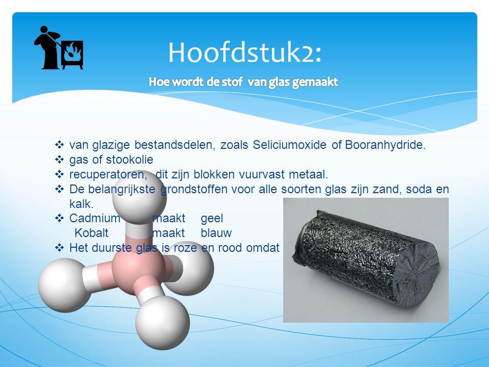 Hoofdstuk2:  van glazige bestandsdelen, zoals Seliciumoxide of Booranhydride.