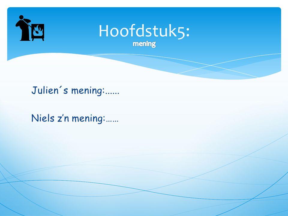 Julien´s mening:...... Niels z'n mening:…… Hoofdstuk5: