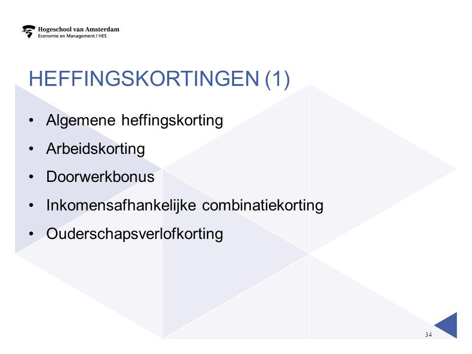 34 HEFFINGSKORTINGEN (1) Algemene heffingskorting Arbeidskorting Doorwerkbonus Inkomensafhankelijke combinatiekorting Ouderschapsverlofkorting