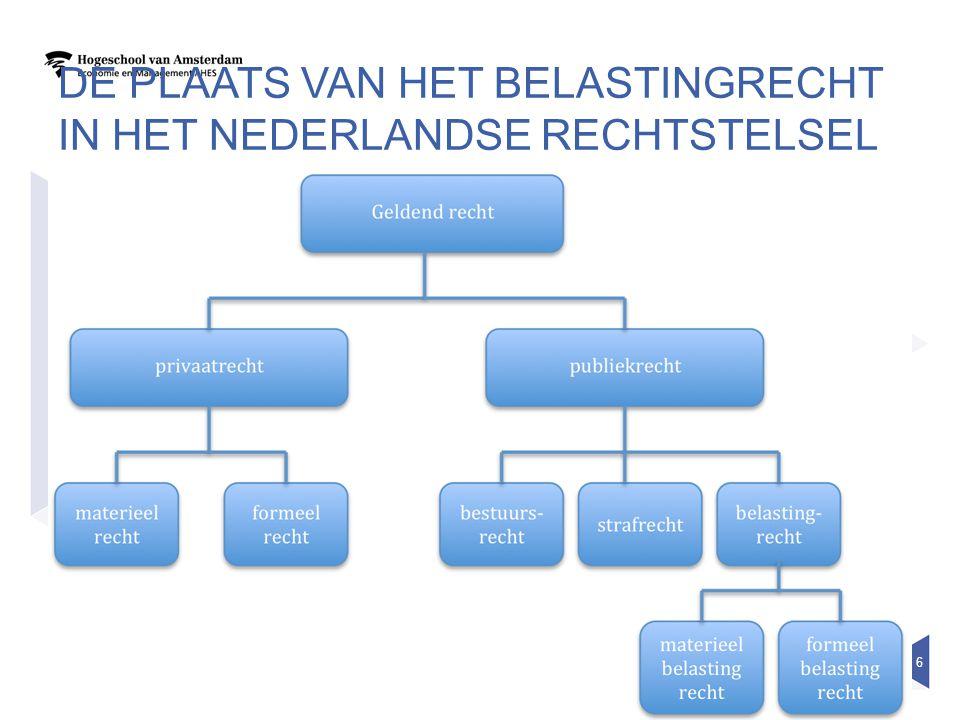 DE PLAATS VAN HET BELASTINGRECHT IN HET NEDERLANDSE RECHTSTELSEL 6