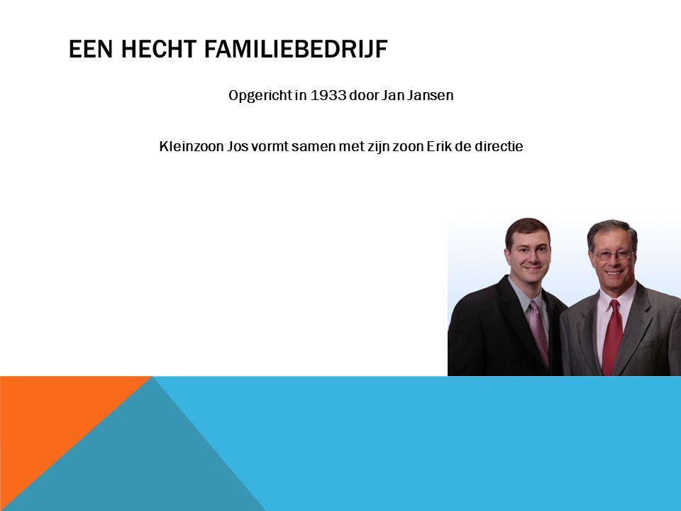 EEN HECHT FAMILIEBEDRIJF Opgericht in 1933 door Jan Jansen Kleinzoon Jos vormt samen met zijn zoon Erik de directie