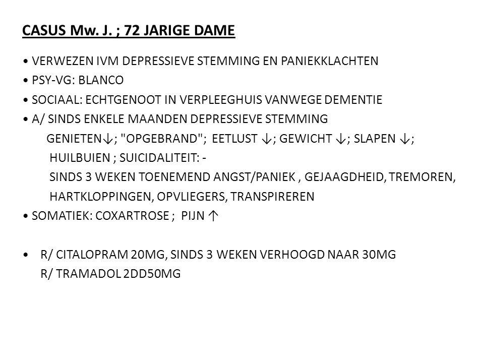 CASUS Mw. J. ; 72 JARIGE DAME VERWEZEN IVM DEPRESSIEVE STEMMING EN PANIEKKLACHTEN PSY-VG: BLANCO SOCIAAL: ECHTGENOOT IN VERPLEEGHUIS VANWEGE DEMENTIE