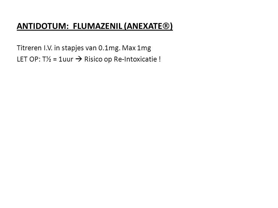 ANTIDOTUM: FLUMAZENIL (ANEXATE  ) Titreren I.V. in stapjes van 0.1mg. Max 1mg LET OP: T½ = 1uur  Risico op Re-Intoxicatie !
