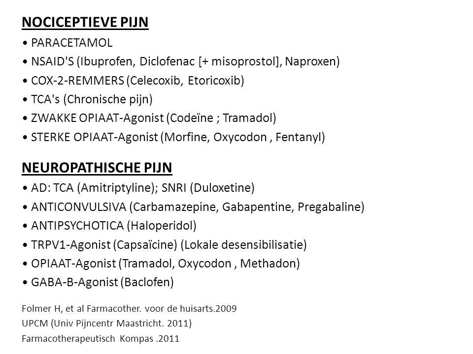 NOCICEPTIEVE PIJN PARACETAMOL NSAID'S (Ibuprofen, Diclofenac [+ misoprostol], Naproxen) COX-2-REMMERS (Celecoxib, Etoricoxib) TCA's (Chronische pijn)