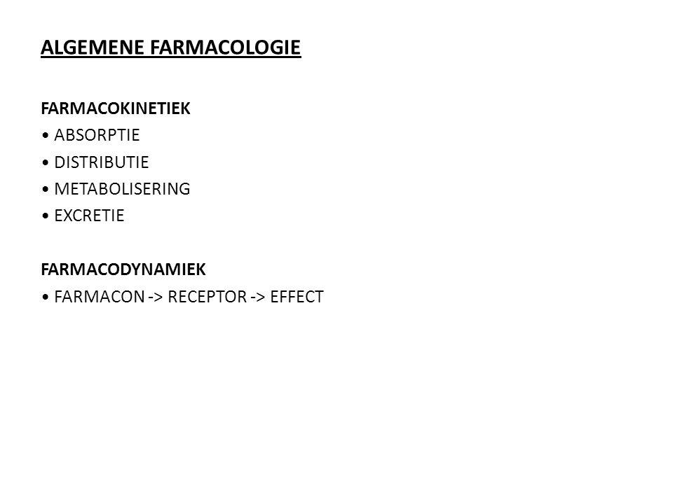 ALGEMENE FARMACOLOGIE FARMACOKINETIEK ABSORPTIE DISTRIBUTIE METABOLISERING EXCRETIE FARMACODYNAMIEK FARMACON -> RECEPTOR -> EFFECT