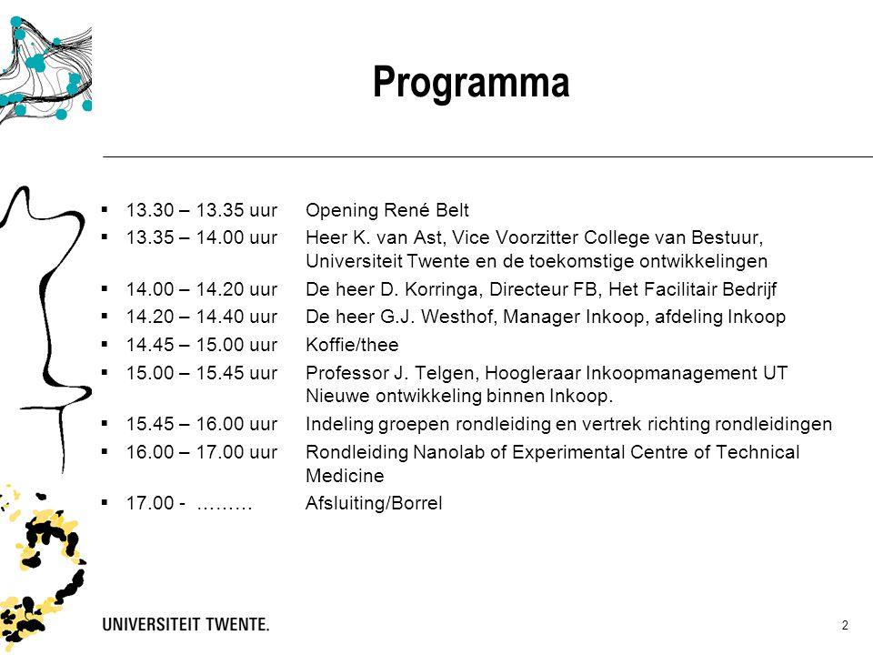 Programma  13.30 – 13.35 uurOpening René Belt  13.35 – 14.00 uur Heer K. van Ast, Vice Voorzitter College van Bestuur, Universiteit Twente en de toe