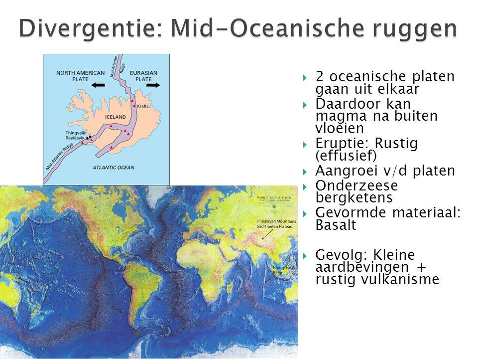  2 oceanische platen gaan uit elkaar  Daardoor kan magma na buiten vloeien  Eruptie: Rustig (effusief)  Aangroei v/d platen  Onderzeese bergketen