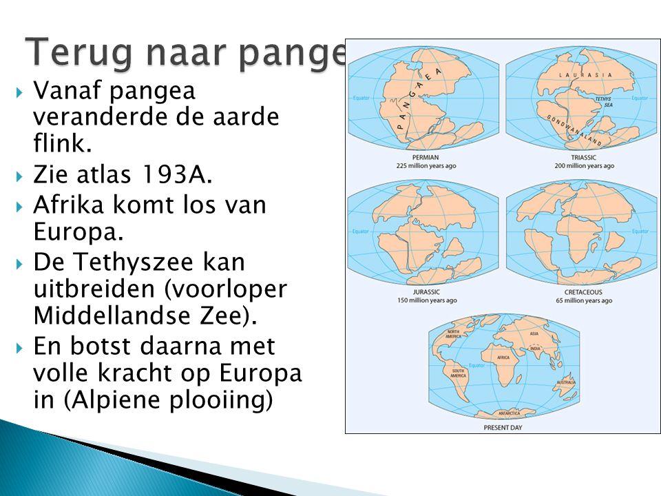  Vanaf pangea veranderde de aarde flink.  Zie atlas 193A.  Afrika komt los van Europa.  De Tethyszee kan uitbreiden (voorloper Middellandse Zee).