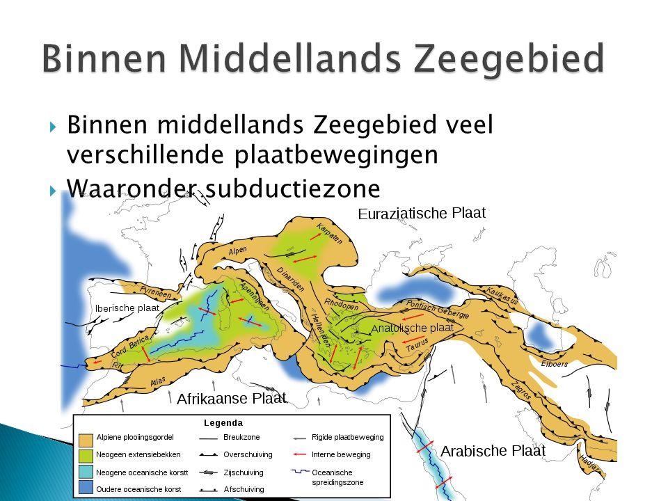  Binnen middellands Zeegebied veel verschillende plaatbewegingen  Waaronder subductiezone