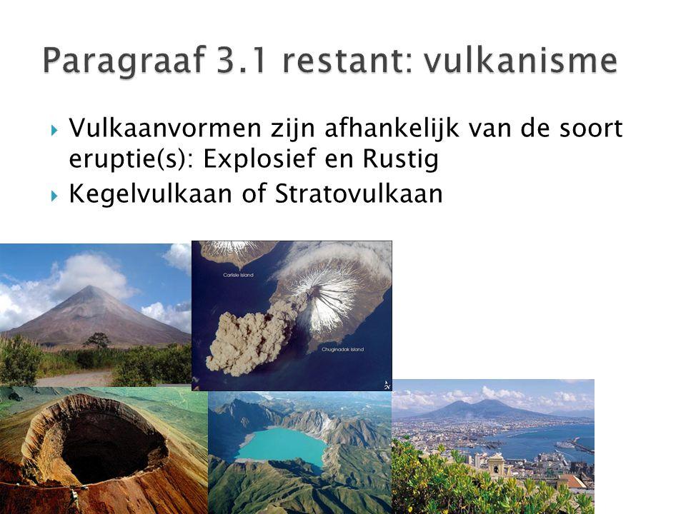  Vulkaanvormen zijn afhankelijk van de soort eruptie(s): Explosief en Rustig  Kegelvulkaan of Stratovulkaan
