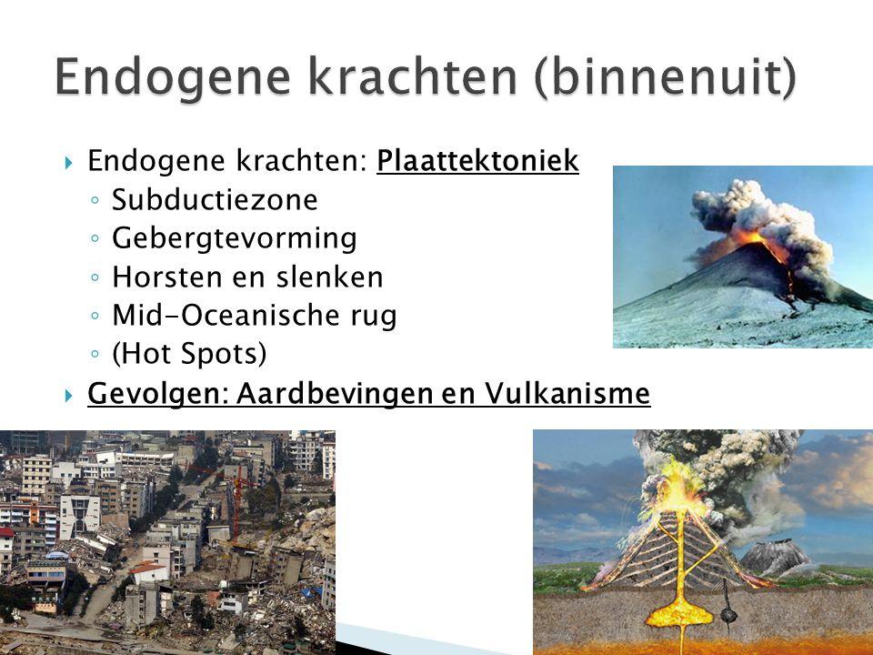  Endogene krachten: Plaattektoniek ◦ Subductiezone ◦ Gebergtevorming ◦ Horsten en slenken ◦ Mid-Oceanische rug ◦ (Hot Spots)  Gevolgen: Aardbevingen