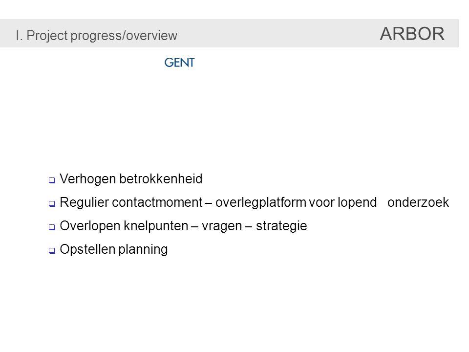  Verhogen betrokkenheid  Regulier contactmoment – overlegplatform voor lopend onderzoek  Overlopen knelpunten – vragen – strategie  Opstellen planning I.