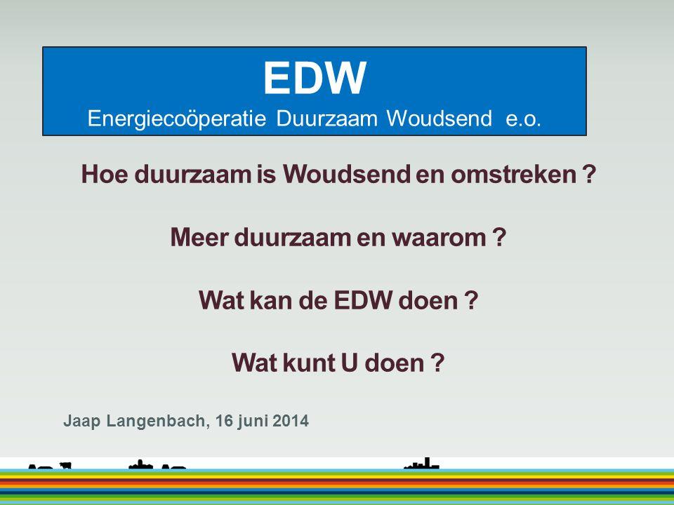 EDW Energiecoöperatie Duurzaam Woudsend e.o. Hoe duurzaam is Woudsend en omstreken ? Meer duurzaam en waarom ? Wat kan de EDW doen ? Wat kunt U doen ?