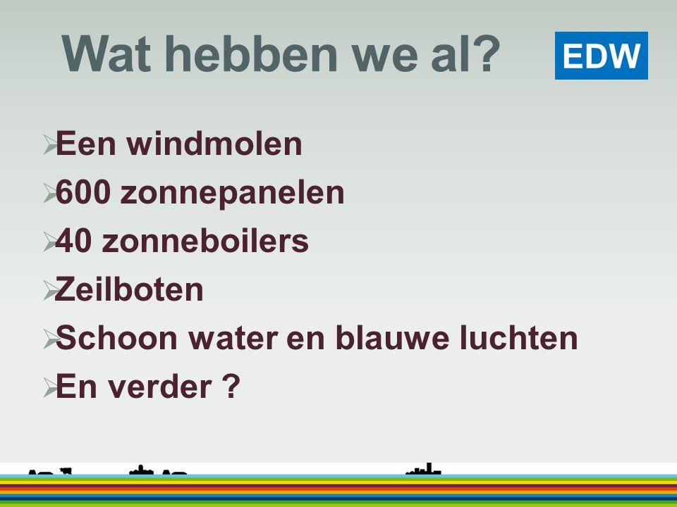 EDW Wat hebben we al?  Een windmolen  600 zonnepanelen  40 zonneboilers  Zeilboten  Schoon water en blauwe luchten  En verder ?