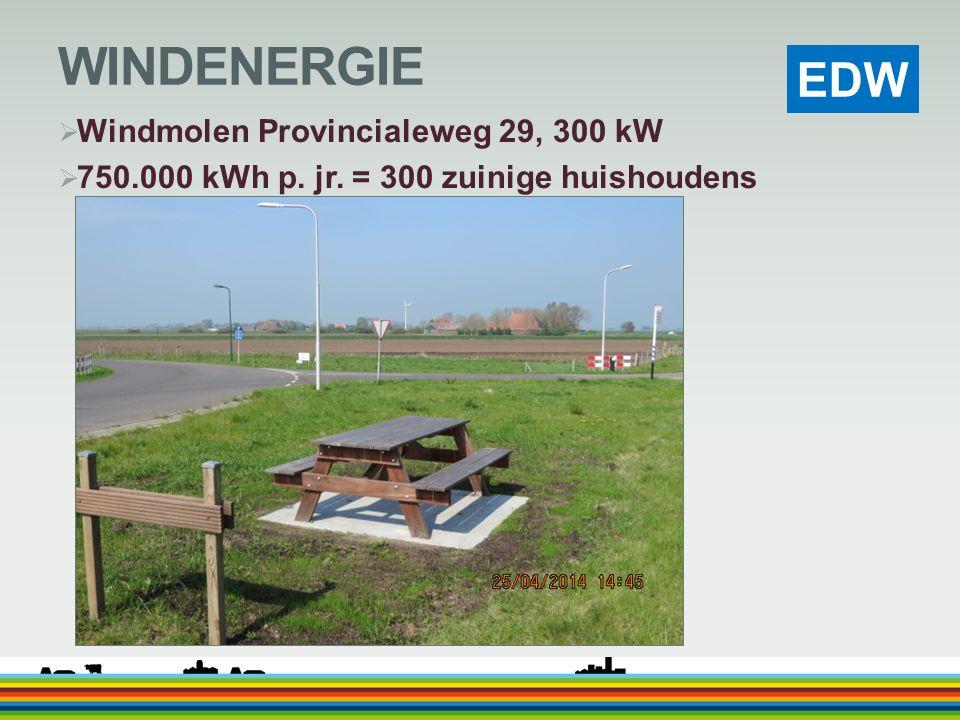 EDW WINDENERGIE  Windmolen Provincialeweg 29, 300 kW  750.000 kWh p. jr. = 300 zuinige huishoudens