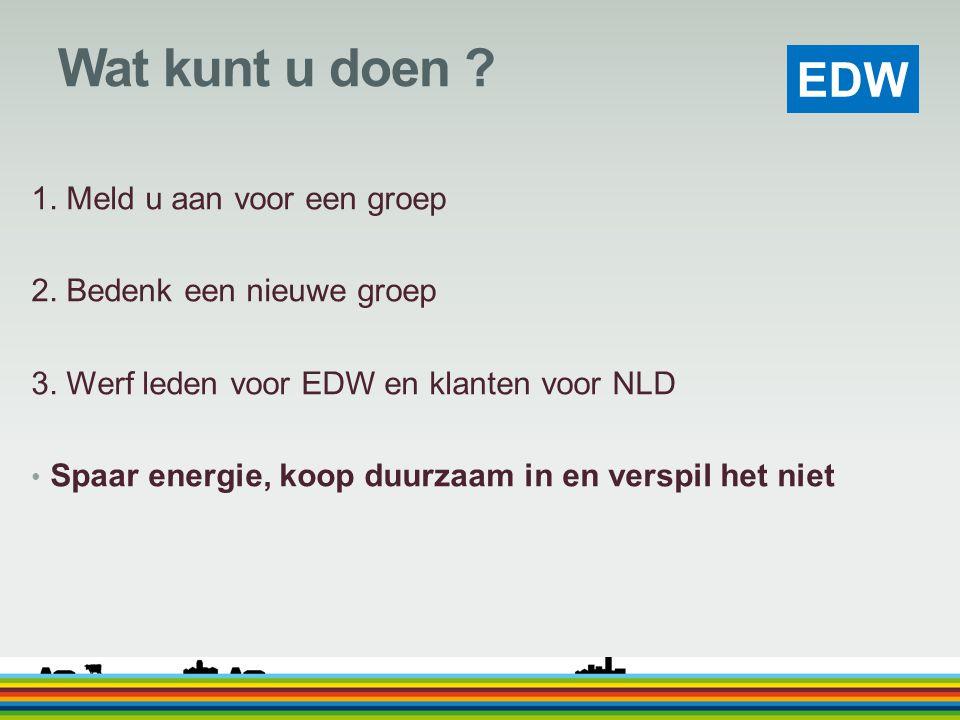 EDW Wat kunt u doen ? 1. Meld u aan voor een groep 2. Bedenk een nieuwe groep 3. Werf leden voor EDW en klanten voor NLD Spaar energie, koop duurzaam