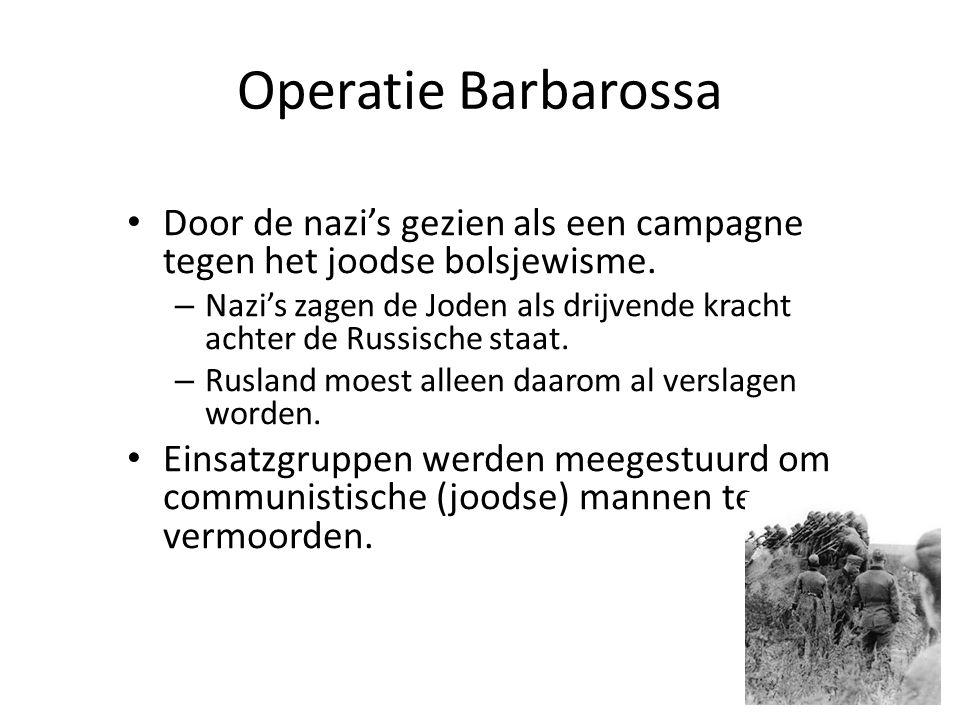 Door de nazi's gezien als een campagne tegen het joodse bolsjewisme. – Nazi's zagen de Joden als drijvende kracht achter de Russische staat. – Rusland