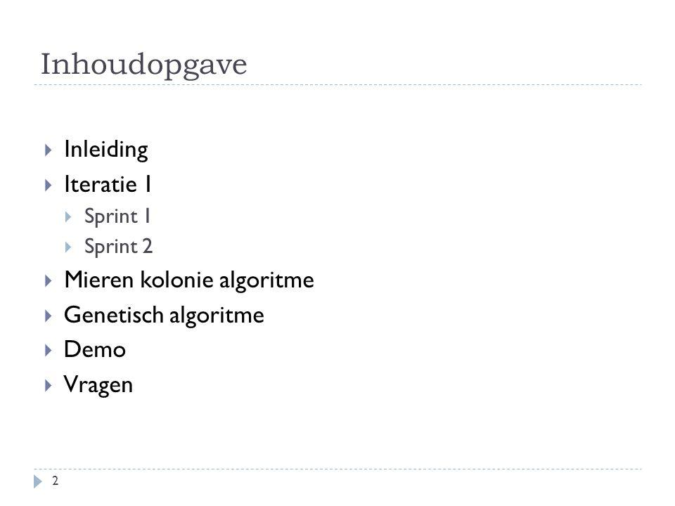 Inhoudopgave  Inleiding  Iteratie 1  Sprint 1  Sprint 2  Mieren kolonie algoritme  Genetisch algoritme  Demo  Vragen 2