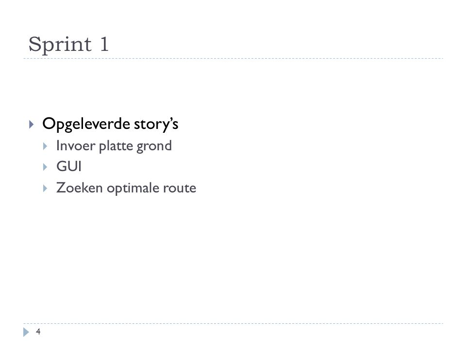 Sprint 1  Opgeleverde story's  Invoer platte grond  GUI  Zoeken optimale route 4