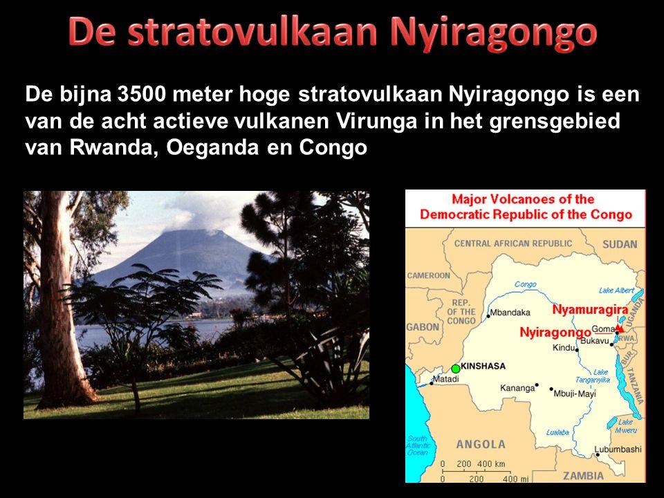 De bijna 3500 meter hoge stratovulkaan Nyiragongo is een van de acht actieve vulkanen Virunga in het grensgebied van Rwanda, Oeganda en Congo