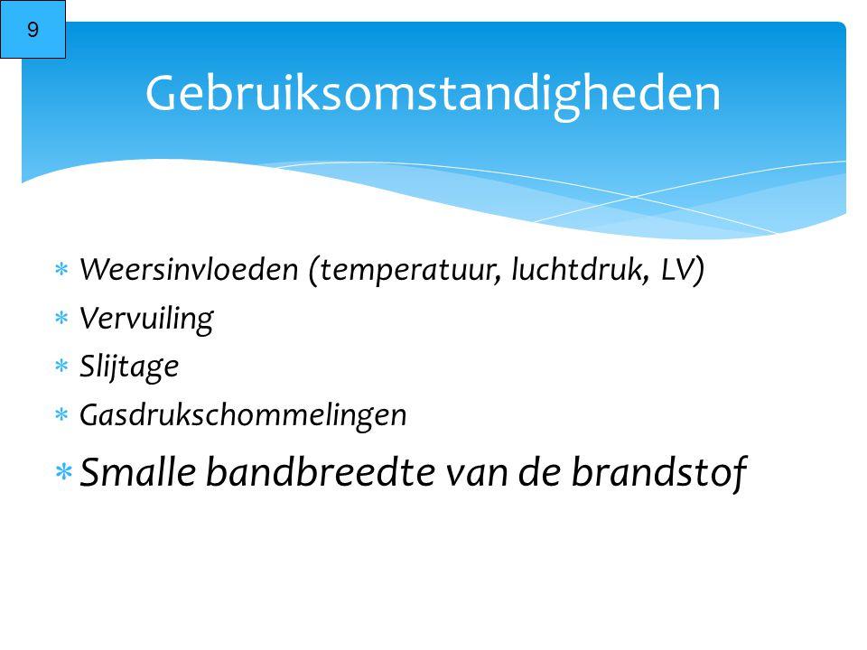  Weersinvloeden (temperatuur, luchtdruk, LV)  Vervuiling  Slijtage  Gasdrukschommelingen  Smalle bandbreedte van de brandstof Gebruiksomstandighe