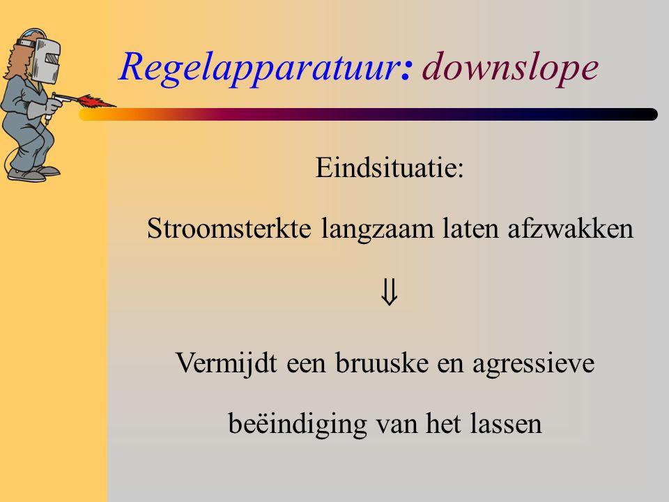 Regelapparatuur: downslope Eindsituatie: Stroomsterkte langzaam laten afzwakken  Vermijdt een bruuske en agressieve beëindiging van het lassen