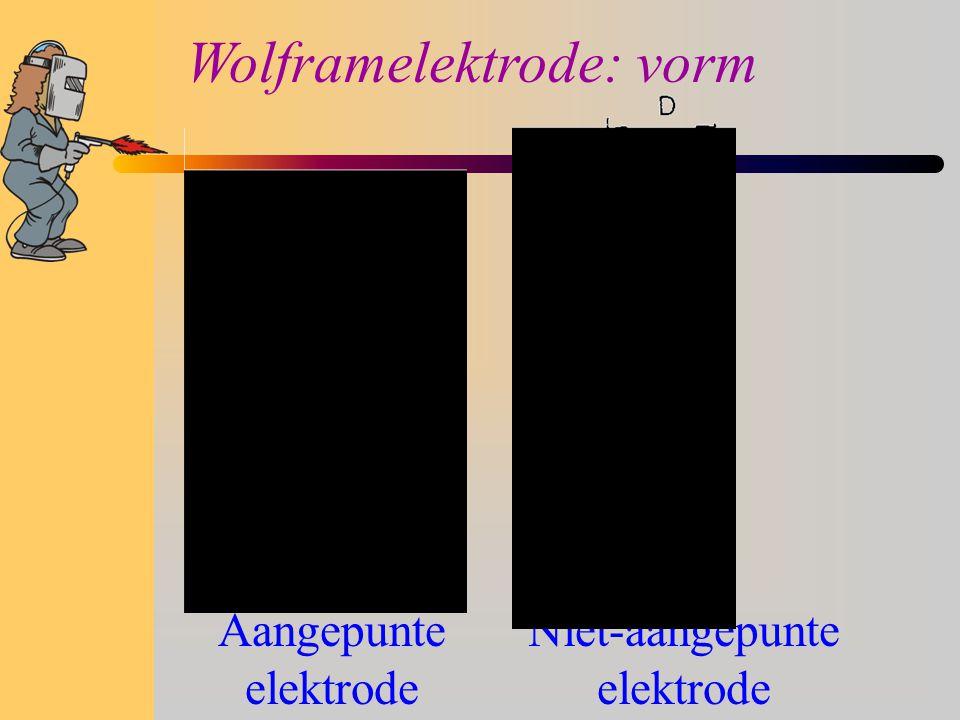 Wolframelektrode: vorm Aangepunte elektrode Niet-aangepunte elektrode