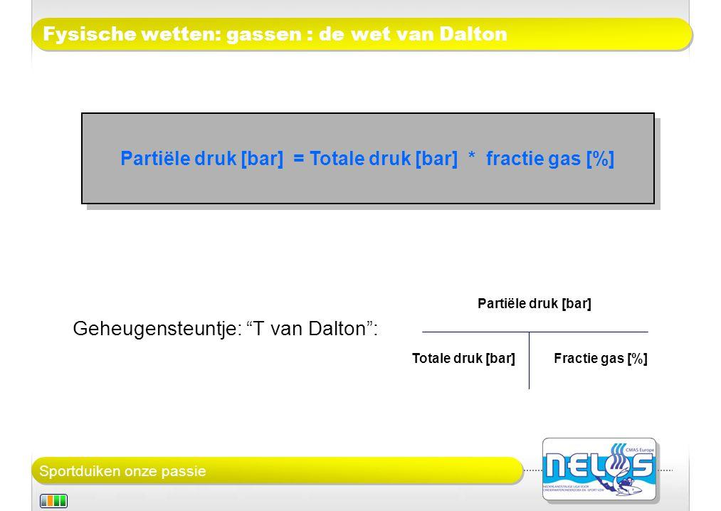 Sportduiken onze passie Fysische wetten: gassen : de wet van Dalton Geheugensteuntje: T van Dalton : Partiële druk [bar] = Totale druk [bar] * fractie gas [%] Partiële druk [bar] Totale druk [bar]Fractie gas [%]