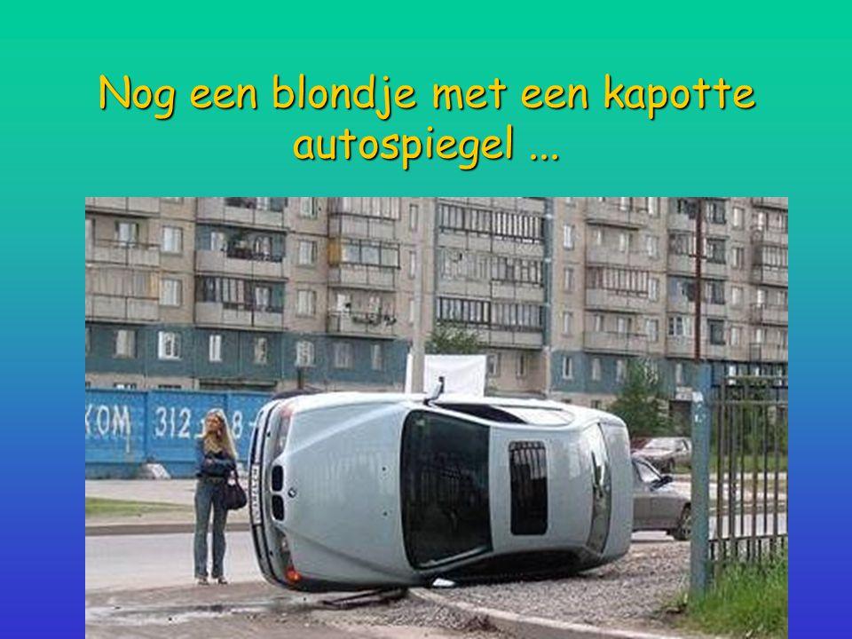 Nog een blondje met een kapotte autospiegel...