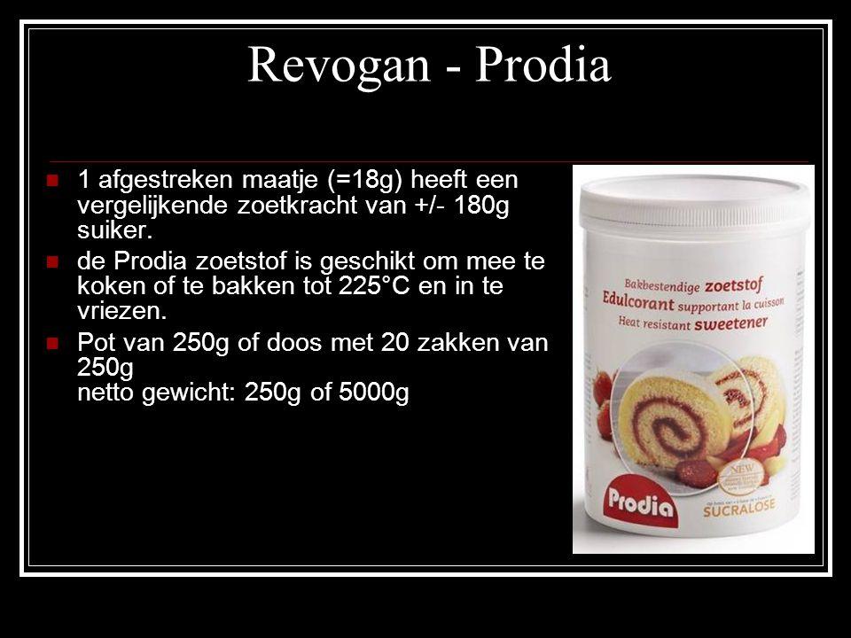 Revogan - Prodia 1 afgestreken maatje (=18g) heeft een vergelijkende zoetkracht van +/- 180g suiker. de Prodia zoetstof is geschikt om mee te koken of