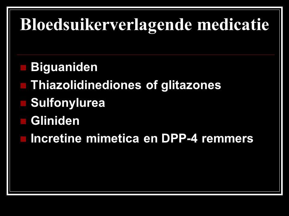 Bloedsuikerverlagende medicatie Biguaniden Thiazolidinediones of glitazones Sulfonylurea Gliniden Incretine mimetica en DPP-4 remmers