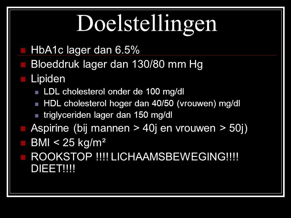 Doelstellingen HbA1c lager dan 6.5% Bloeddruk lager dan 130/80 mm Hg Lipiden LDL cholesterol onder de 100 mg/dl HDL cholesterol hoger dan 40/50 (vrouw