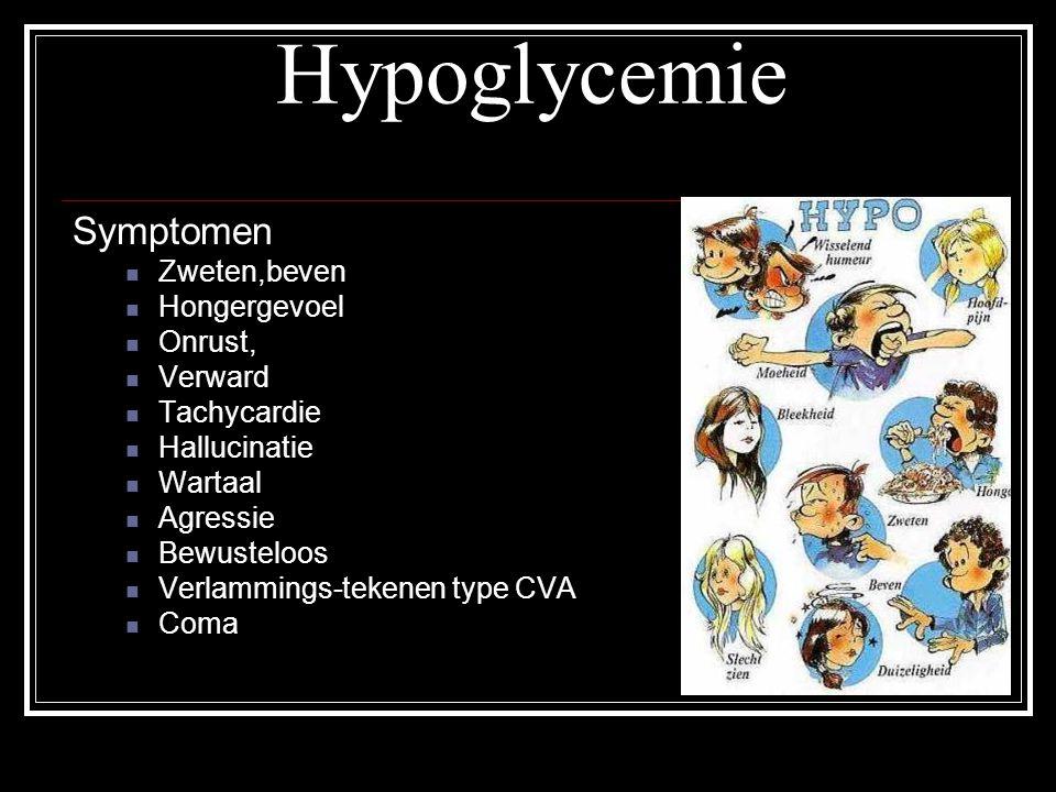 Hypoglycemie Symptomen Zweten,beven Hongergevoel Onrust, Verward Tachycardie Hallucinatie Wartaal Agressie Bewusteloos Verlammings-tekenen type CVA Co
