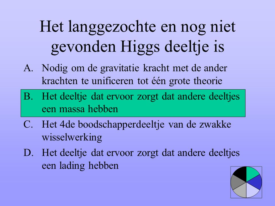 Het langgezochte en nog niet gevonden Higgs deeltje is A.Nodig om de gravitatie kracht met de ander krachten te unificeren tot één grote theorie B.Het