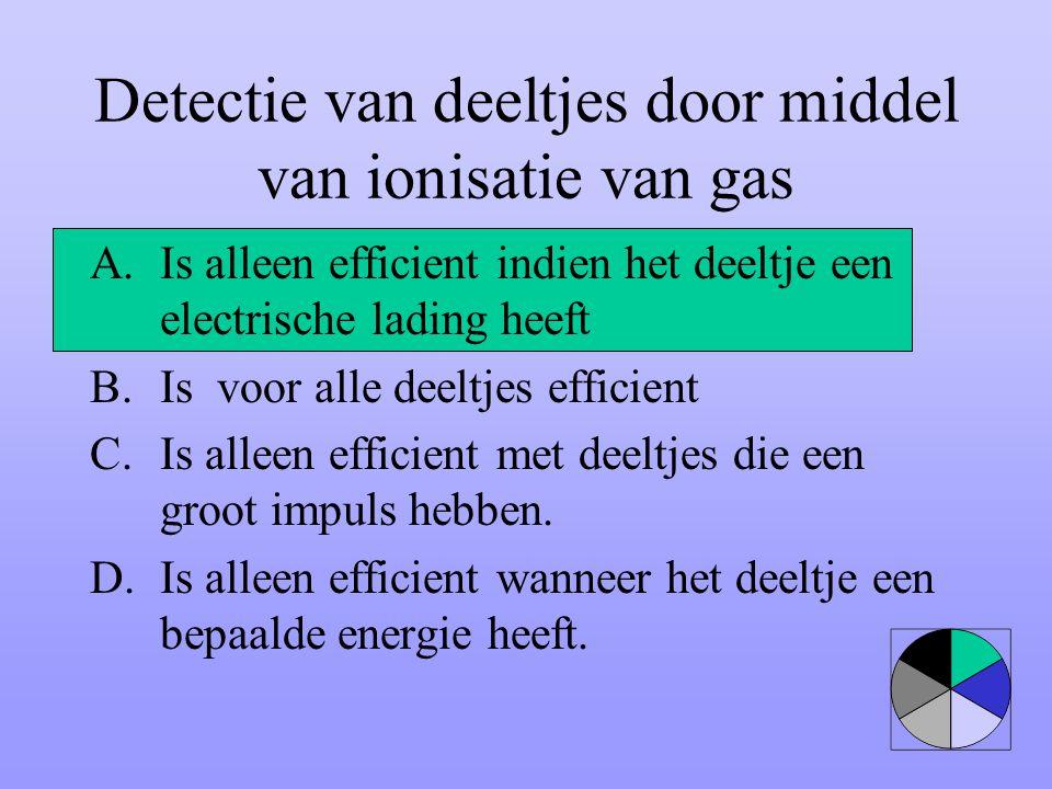 Detectie van deeltjes door middel van ionisatie van gas A.Is alleen efficient indien het deeltje een electrische lading heeft B.Is voor alle deeltjes