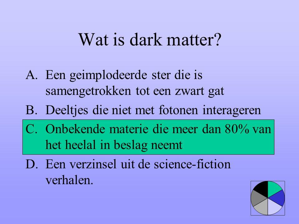 Wat is dark matter? A.Een geimplodeerde ster die is samengetrokken tot een zwart gat B.Deeltjes die niet met fotonen interageren C.Onbekende materie d