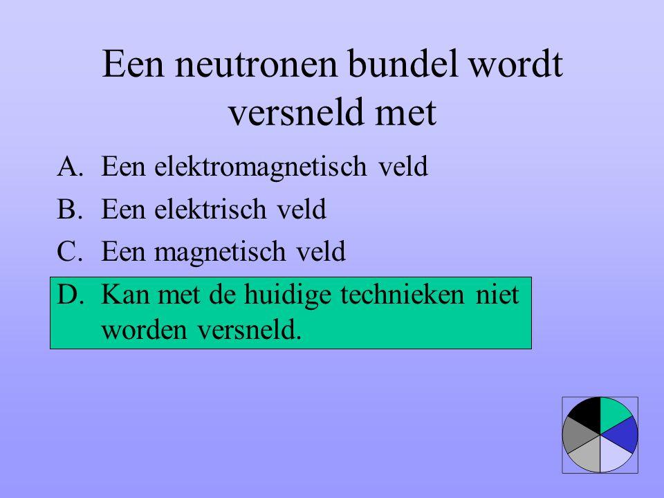Een neutronen bundel wordt versneld met A.Een elektromagnetisch veld B.Een elektrisch veld C.Een magnetisch veld D.Kan met de huidige technieken niet
