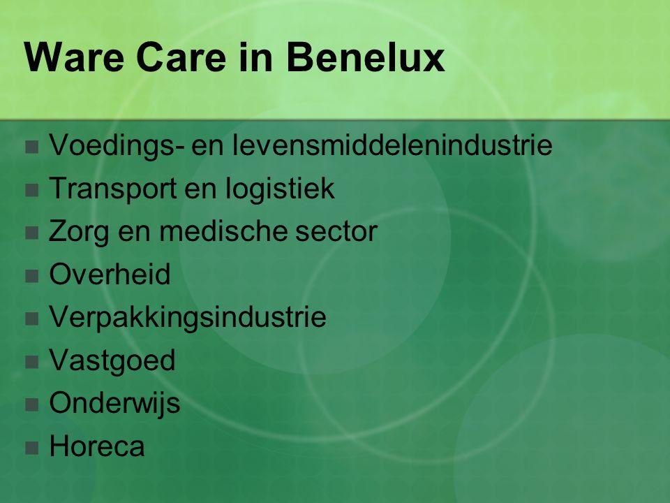Ware Care in Benelux Voedings- en levensmiddelenindustrie Transport en logistiek Zorg en medische sector Overheid Verpakkingsindustrie Vastgoed Onderw