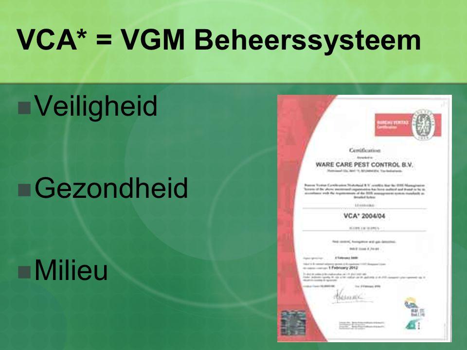 VCA* = VGM Beheerssysteem Veiligheid Gezondheid Milieu