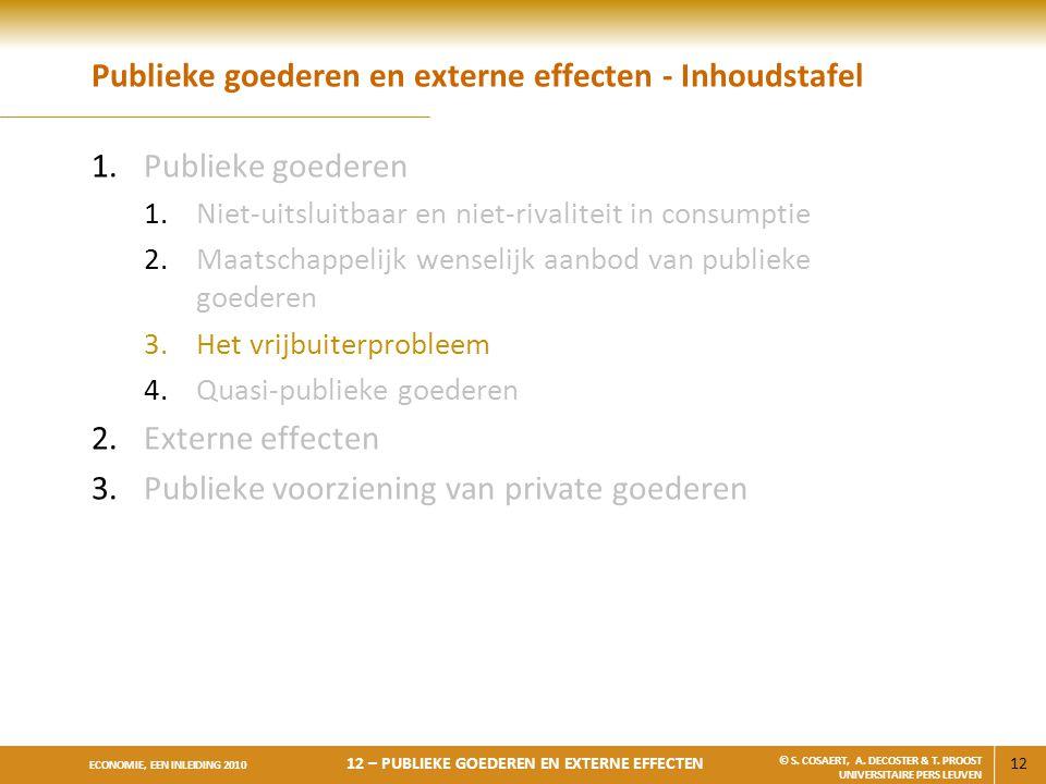 12 ECONOMIE, EEN INLEIDING 2010 12 – PUBLIEKE GOEDEREN EN EXTERNE EFFECTEN © S. COSAERT, A. DECOSTER & T. PROOST UNIVERSITAIRE PERS LEUVEN Publieke go