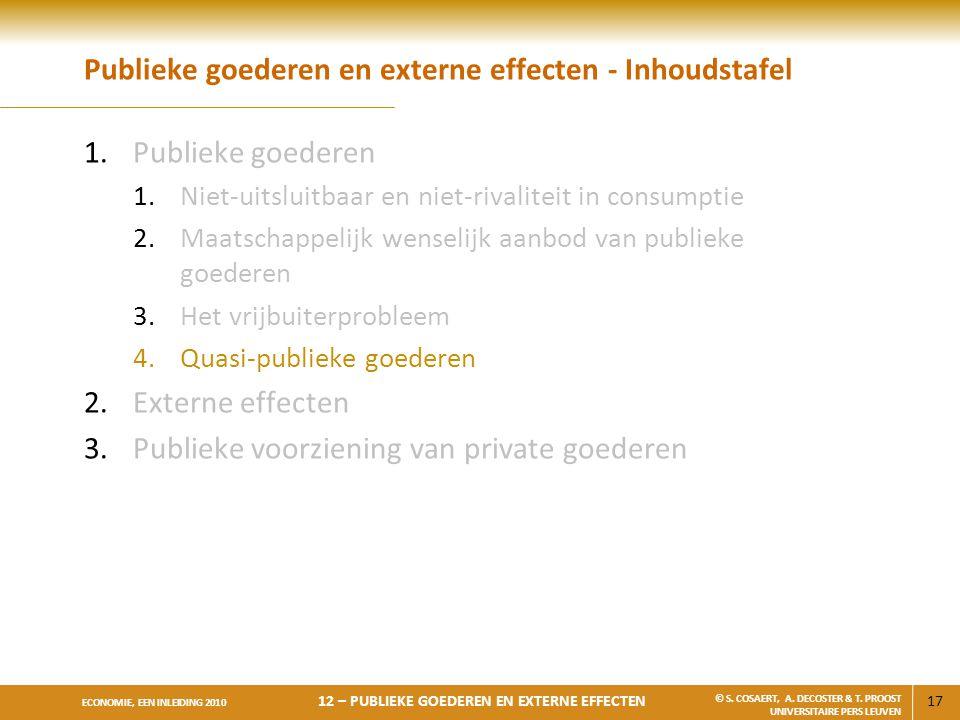 17 ECONOMIE, EEN INLEIDING 2010 12 – PUBLIEKE GOEDEREN EN EXTERNE EFFECTEN © S. COSAERT, A. DECOSTER & T. PROOST UNIVERSITAIRE PERS LEUVEN Publieke go