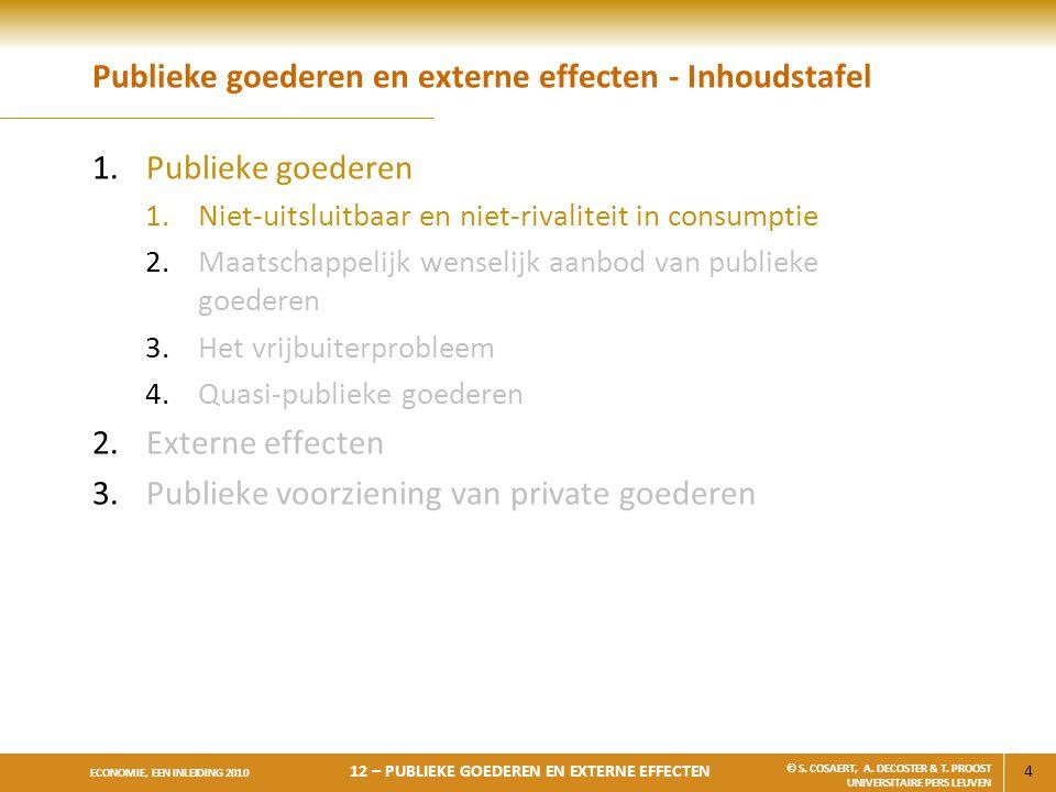 4 ECONOMIE, EEN INLEIDING 2010 12 – PUBLIEKE GOEDEREN EN EXTERNE EFFECTEN © S. COSAERT, A. DECOSTER & T. PROOST UNIVERSITAIRE PERS LEUVEN Publieke goe