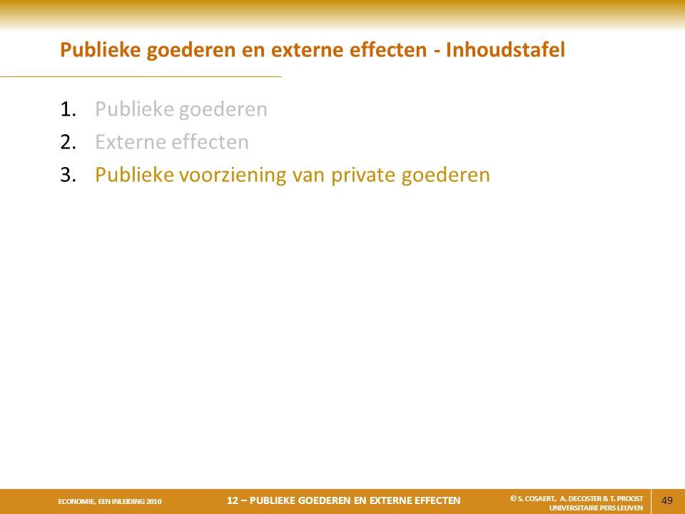 49 ECONOMIE, EEN INLEIDING 2010 12 – PUBLIEKE GOEDEREN EN EXTERNE EFFECTEN © S. COSAERT, A. DECOSTER & T. PROOST UNIVERSITAIRE PERS LEUVEN Publieke go