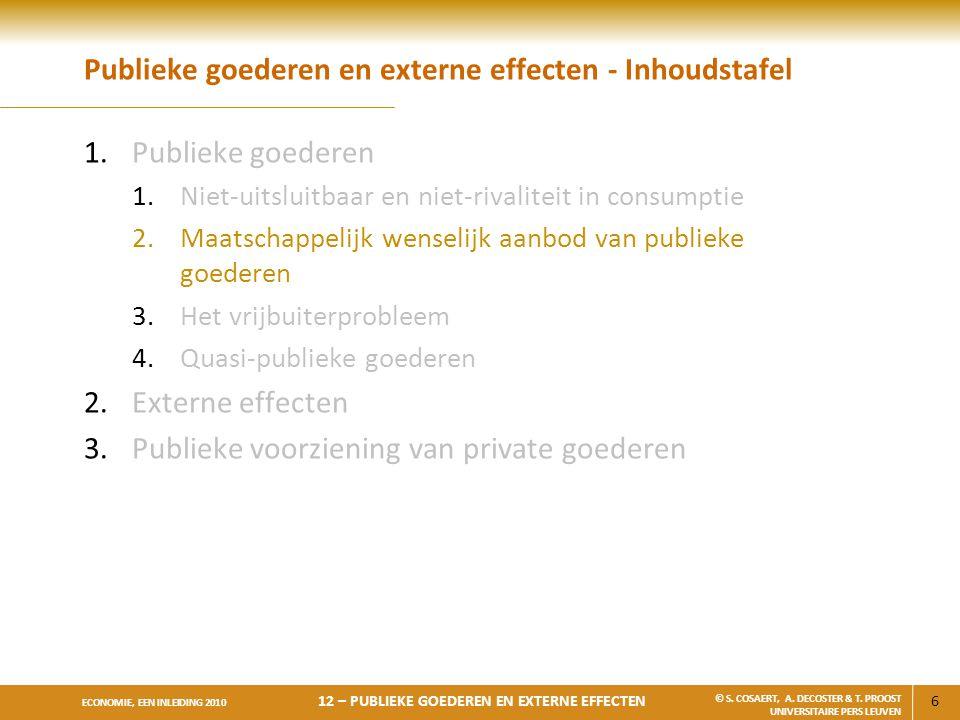 6 ECONOMIE, EEN INLEIDING 2010 12 – PUBLIEKE GOEDEREN EN EXTERNE EFFECTEN © S. COSAERT, A. DECOSTER & T. PROOST UNIVERSITAIRE PERS LEUVEN Publieke goe