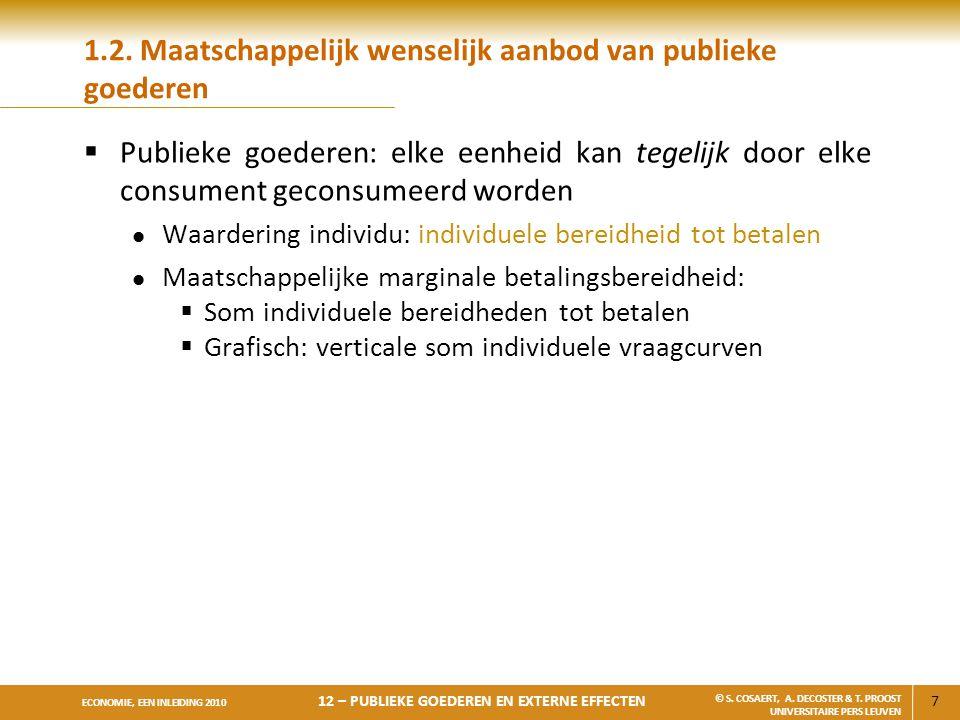 28 ECONOMIE, EEN INLEIDING 2010 12 – PUBLIEKE GOEDEREN EN EXTERNE EFFECTEN © S.