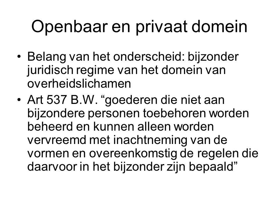 """Openbaar en privaat domein Belang van het onderscheid: bijzonder juridisch regime van het domein van overheidslichamen Art 537 B.W. """"goederen die niet"""