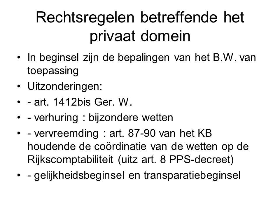 Rechtsregelen betreffende het privaat domein In beginsel zijn de bepalingen van het B.W. van toepassing Uitzonderingen: - art. 1412bis Ger. W. - verhu