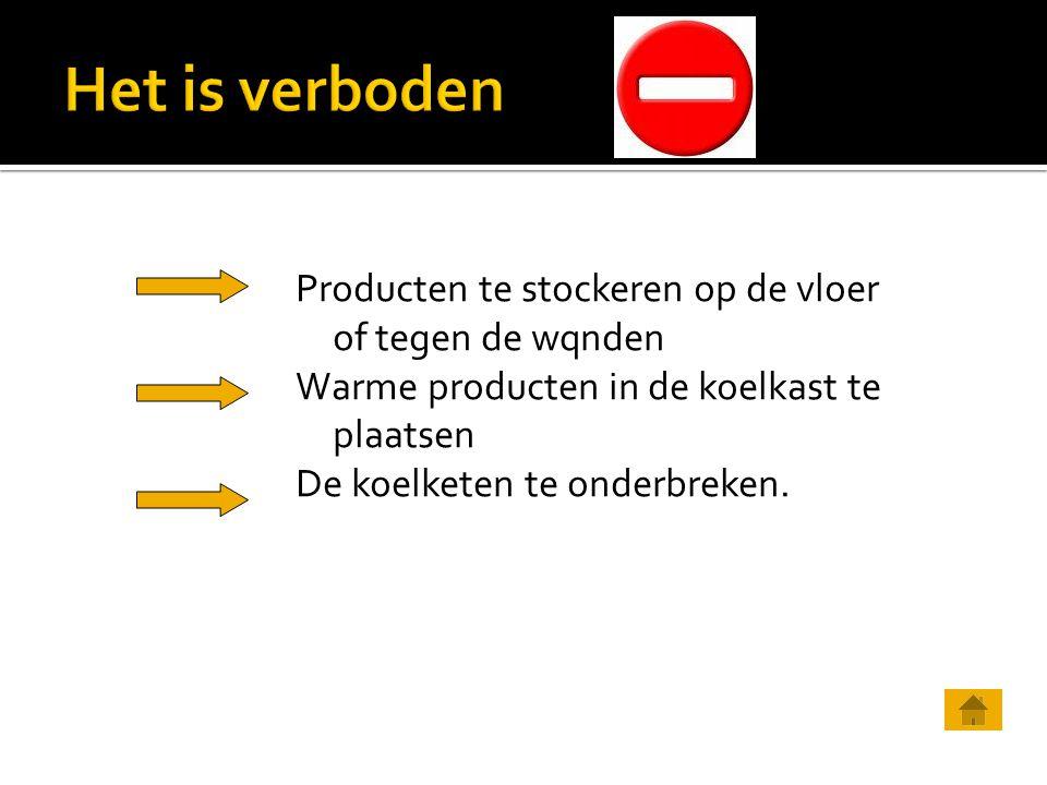 Producten te stockeren op de vloer of tegen de wqnden Warme producten in de koelkast te plaatsen De koelketen te onderbreken.