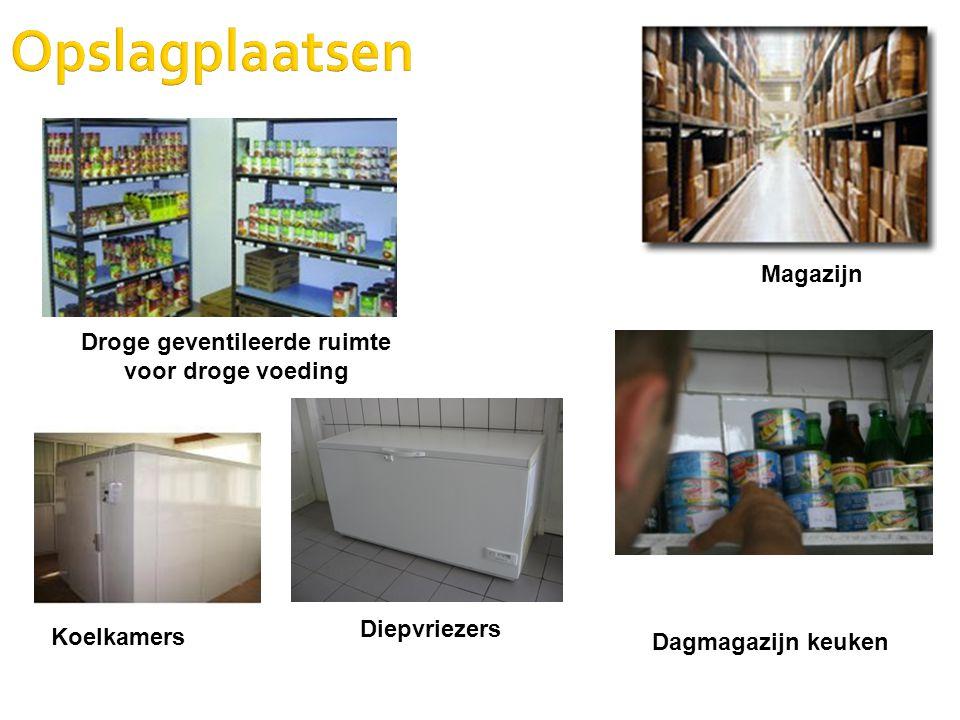 Opslagplaatsen Magazijn Droge geventileerde ruimte voor droge voeding Dagmagazijn keuken Koelkamers Diepvriezers