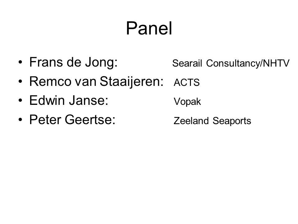 Panel Frans de Jong: Searail Consultancy/NHTV Remco van Staaijeren: ACTS Edwin Janse: Vopak Peter Geertse: Zeeland Seaports